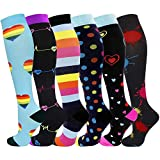 6 Pairs Graduated Medical Compression Socks for Women Men 20-30mmhg Knee High Fun Stockings for Running Sports Athletic Nurse Travel Pregnancy Swelling (Assorted 1, L/XL)