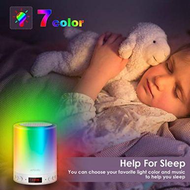 Myguru-Lampe-de-Chevet-Enfants-Lampe-Tactile-LED-Touch-Portable-Enceinte-Bluetooth-Lampe-de-Table-Portables-Reveil-Alarme-Horloge-FM-Lecture-de-MP3-Support-TF-Carte-USB-Rechargeable-Mains-Libres
