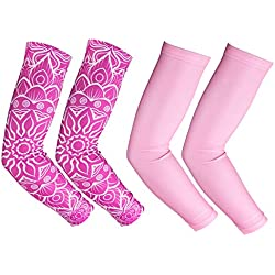 RoryTory Cooling Arm Compression Sleeve Sun Guard - for Women, Men, Kid & Youth - for Outdoor Cycling Bicycle Golfing Basketball Baseball - Pink & White Floral Design - Size Small