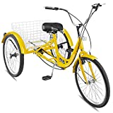 Happybuy 24 Inch Adult Tricycle Series 6/7 Speed 3 Wheel Bike Adult Tricycle Trike Cruise Bike Large Size Basket for Recreation, Shopping,Exercise Men's Women's Bike (Yellow/7-Speed)