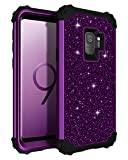 Lontect Compatible Galaxy S9 Case Luxury Glitter Sparkle Bling Heavy Duty Hybrid Sturdy Armor High Impact Shockproof Protective Cover Case for Samsung Galaxy S9 - Shiny Purple/Black