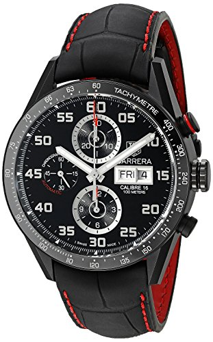 51wHl3cYcXL Black Carbide-Coated Titanium case with black leather strap. Silver toned hands, Arabic dial markers Scratch Resistant sapphire crystal, silver-tone hands. Arabic Mineral Dial markers, 60 second, 30 minute and 12 hour sub dials Swiss-automatic Movement