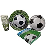 Soccer Party Supplies (65+ Pieces for 16 Guests!), Soccer Birthday Party Kit, Futbol Tableware Decorations, Party Pack
