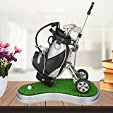 Hankerlife Golf Pens with Golf Bag Holder, with 3 Pieces Aluminum Pen Office Desk Golf Bag Pencil Holder for Fathers Day,Golf Souvenirs Unique Gifts for Golfer Fans Coworker (Silver and Black)