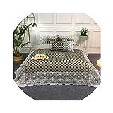 HANBINGPO Satin Cotton White Lace Duvet Cover Set Queen King Size 4Pcs Black Gray Dot Circle Leopard Bedding Set Bed Sheet Pillow Shams,Color 3,Queen Size 4pieces,Flat Bed Sheet