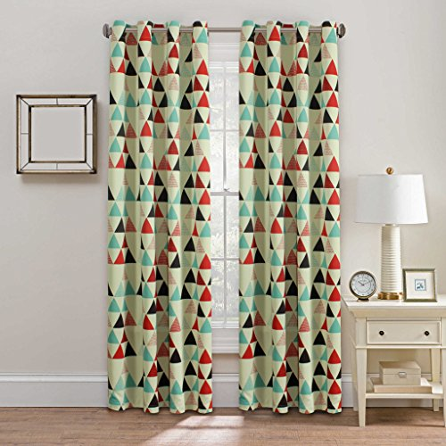 H.Versailtex Geometry Triangle in Red/Beige/Stone Blue Pattern Blackout Kids Room Window Curtains,Antique Copper Grommets,52 inch Wide by 84 inch Long-Set of 1 Panel
