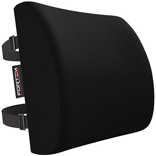Lumbar Support for Office Chair | Back Pillow for Car | Memory Foam Orthopedic Cushion by FORTEM | Provides Low Back Support | Improves Posture | Washable Cover (Black)
