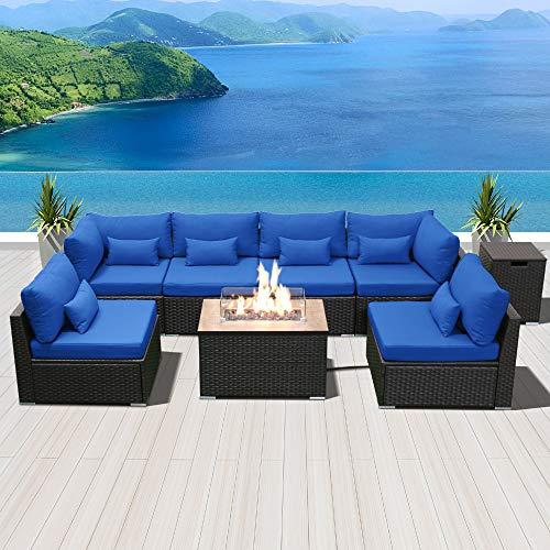 Dineli Patio Furniture Sectional Sofa, Dineli Patio Furniture Sectional Sofa With Gas Fire Pit Table Outdoor