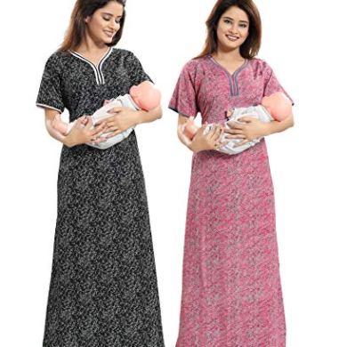TUCUTE Women Beautiful Print Poly-Cotton Invisible Zip Pattern Feeding/Maternity/Nursing Nighty/Night Gown/Nightwear (Free Size) (Pack of 2 Pcs) Smart Combo 15