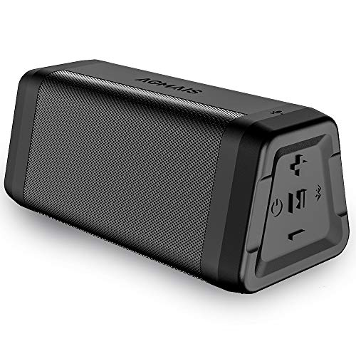 AOMAIS Real Sound Portable Bluetooth Speakers Loud Bass 24H Playtime IPX5 Waterproof 100ft Range Built-in Mic, Wireless Stereo Pairing Speakers for Outdoor, Travel Black
