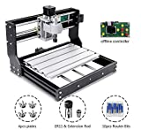 Uttiny CNC Router Kit, Laser Available Upgraded 3018 Pro 3 Axis Engraver With Offline Feature Used As GRBL Control DIY Mini CNC Machine For Plastic Acrylic PVC Wood Carving And Milling (Black)