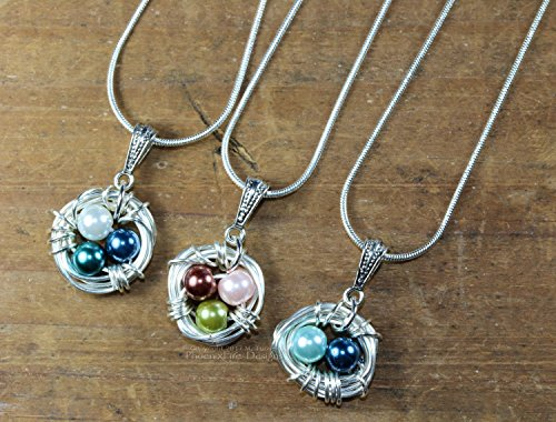mother 39 s day bird nest custom family birthstone necklace. Black Bedroom Furniture Sets. Home Design Ideas