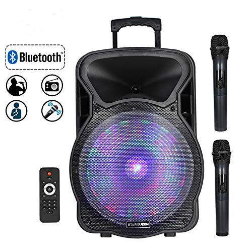 STARQUEEN 15' Portable Bluetooth Speaker, Rechargeabl PA System with 2 Wireless Microphones/Remote Control/LED Party Lights, AUX/USB/TF Input/FM Radio/Holes for Tripod Stand, Karaoke Amplifier System