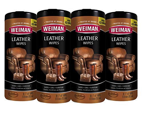 Weiman Leather Wipes - 4 Pack - Clean Condition UV Protection Help Prevent Cracking or Fading of Leather Couches, Car Seats & Interior, Shoes and Other Leather Surfaces