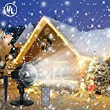 LED Christmas Projector Lights, Snowfall Light Waterproof Snow Flurries Landscape Spotlight White Snowflakes with Wireless Remote Decoration for Holiday, Wedding, Party, Garden