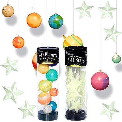 Edu Ciencia brilla en la oscuridad), planetas y estrellas Set Kids Toddlers--3-D Espacio Planeta...