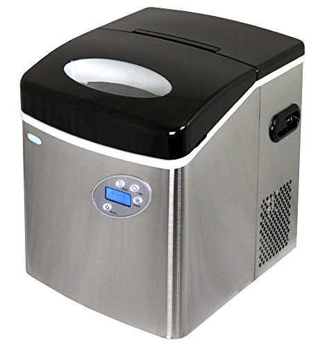 NewAir Portable Ice Maker 50 lb. Daily 3 Bullet Shaped Ice Sizes, AI-215SS, Stainless Steel
