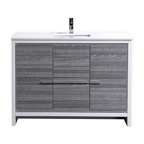 51wRmWC8CbL MDF and Wood Veneer Construction Cabinet . Ash Gray / Two Functioning Doors and Two Drawers . Adjustable Doors and Drawers / Luxurious Pure White Quartz Countertop