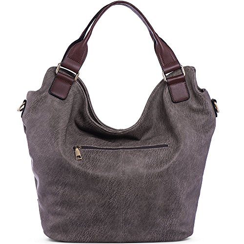 51wT7CLQclL Material: High Quality PU Leather Hobo Tote Womens Purse Handbag. The Hardware is Gold. Zipper Closure; Adjustable and Removable Shoulder Strap. Size: Large Bag [13.38 at Bottom (tapering to 20.47 at top) x 14.17 x 6.29 ] (L*H*W) In]. Weight: 2.2 pounds.