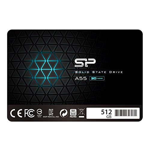 "Silicon Power 512GB SSD 3D NAND A55 SLC Cache Performance Boost SATA III 2.5"" 7mm (0.28"") Internal Solid State Drive (SP512GBSS3A55S25) 193"