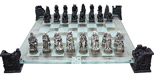 Original Fantasy Vampire and Werewolf Themed Glass Chess Set by