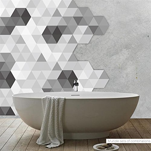AmazingWall Simple Geometry Wall Sticker Black and White Grey Hexagon Floor Sticker Waterproof DIY Floor Tile 4.53x7.87 10 Pcs/Set