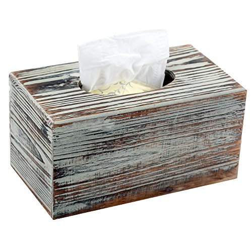 MyGift Decorative Rustic Torched Wood Rectangular Facial Tissue Box Cover Holder