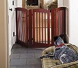 Orvis Three-Panel Dog Gate with Door / 36' h Gate, Dark Cherry