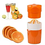 OKAYMART Squeezer, Manual Hand Juicer with Strainer and Container, for Lemon, Lime,Citrus(Orange Color)