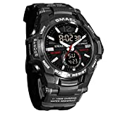 Mens Digital Soprts Watch, Analog Watch LED Waterproof Electronic Casual Outdoor Wrist Watch Silicone Band Luminous Alarm Stopwatch for Teenagers Boys Girls