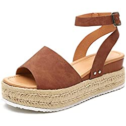 Athlefit Women's Platform Sandals Espadrille Wedge Ankle Strap Studded Open Toe Sandals Size 9 Brown
