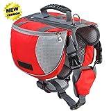 Lifeunion Adjustable Service Dog Supply Backpack Saddle Bag for Camping Hiking Training(Red,Medium)