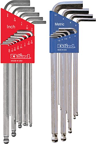 EKLIND 17322 Bright Ball-Hex L-Key Allen Wrench Combo- Extra Long Inch/MM (2 Sets 22pc)