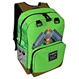 JINX Minecraft Pickaxe Adventure Kids School Backpack, Green, N/A