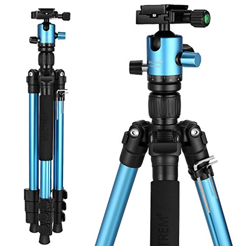 MACTREM Tripod DSLR SLR Tripod, 62.5″ Light-Weight Aluminum Alloy Camera Tripod Phone Tripod with Phone Holder, 360 Degree Ball Head, Detachable Monopod, 33lbs Load with Carry Bag