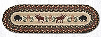 Amazon Com Earth Rugs 8 25 X 27 Oval Printed Braided Stair   Braided Stair Tread Rugs   Olive Burgundy   Tree Hill   Rhody Rug   Shape Oval   Indoor Outdoor