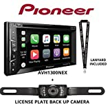 Pioneer AVH-1300NEX 6.2' DVD Receiver Apple CarPlay Built in Bluetooth with License Plate Style Backup Camera and a Free SOTS Lanyard