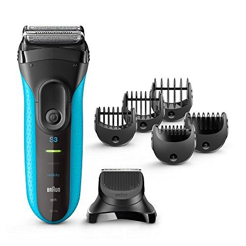 Braun Series 3 3010BT Men's Beard Trimmer/Hair Clipper, Razor, Foil Shaver, Blue & Black