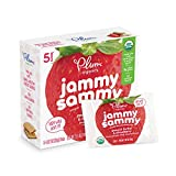 Plum Organics Jammy Sammy, Organic Kids Snack Bar, Peanut Butter & Strawberry, 5 bars x 1.02 oz (Pack of 6)