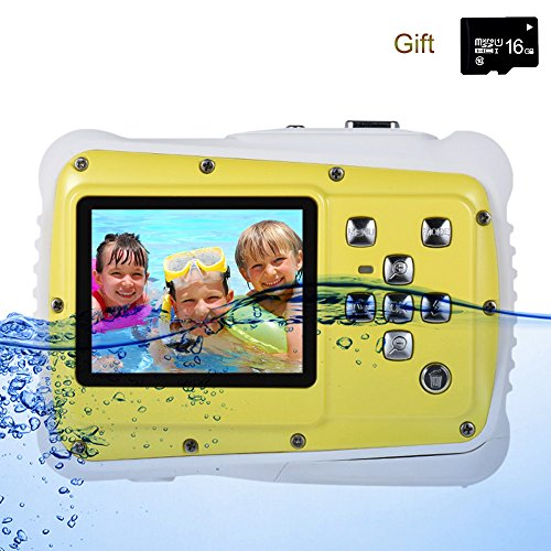 Digital Camera for Kids, YTAT Waterproof Kids Digital Camera, Underwater Action Camera Dust Proof Camcorder with 16G SD card 5M CMOS for Children Boys Girls Gift Toys