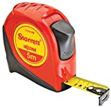Starrett Exact KTX34-5M-N ABS Plastic Case Red Measuring Pocket Tape, Metric Graduation Style, 5m Length, 19mm Width, 1mm Graduation Interval