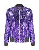 ASMAX HaoDuoYi Womens Sparkle Mermaid Sequin Long Sleeve Zipper Front Bomber Jacket Purple