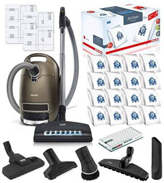 Miele-Complete-C3-Brilliant-Canister-HEPA-Vacuum-Cleaner-SEB-236-Powerhead-Bundle-Includes-Miele-Performance-Pack-16-Type-GN-AirClean-Genuine-FilterBags-Genuine-AH50-HEPA-Filter