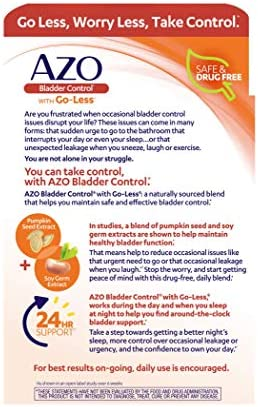 AZO Bladder Control with Go-Less Daily Supplement | Helps Reduce Occasional Urgency* | Helps reduce occasional leakage due to laughing, sneezing and exercise††† | 72 Capsules 5