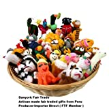 Sanyork Fairly Traded Finger Puppets Set of 10 Assortment Birds, Animals & Insects Peru
