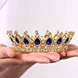 Crystal Crown Cake Topper Height Gold Vintage Peacock Rhinestone Crown Strong Stones Will Not Fall Birthday Party Beauty pageant Adult Ceremony Prom Wedding For Mother Bride Bridesmaid Queen Princess Girl(Gold-blue)