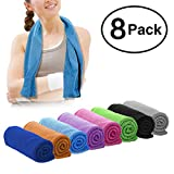 DARUNAXY 8 Pack Evaporative Cooling Towels 40'x12',Snap Cooling Towels for Sports, Workout, Fitness, Gym, Yoga, Pilates, Travel, Camping and More