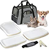 Besser Products Airline Approved Pet Carrier - Soft Sided Dog Travel Bag for Men and Women with 3 Bonus Fleece Pads - for Small Dogs and Cats - Charcoal Grey (Grey)
