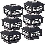 GreenLighting 6 Pack Modern Design Solar Powered Post Cap Light for 4x4 Wood Posts (Black)