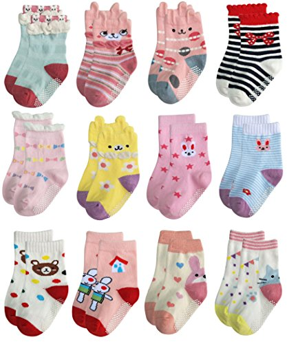 RATIVE Non Skid Anti Slip Cotton Dress Crew Socks With Grips For Baby Infant Toddler Kids Girls (12-24 Months, 12-pairs/RG-726727)